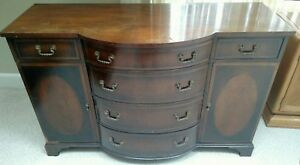 Bow Front Chest Dresser Server Mahogany Cherry Vintage Antique Inlays Beautiful