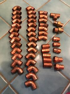 Copper 3 4 Elbow 90 45 Degree see Description New Lot Of 48 Pieces