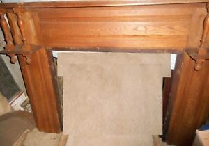 Antique Vintage Oak Fireplace Mantle Mantel 1890s 66 Wide X 51 High Houston