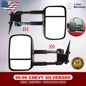 Towing Mirror Manual Textured Black Pair Set For Chevy Gmc Pickup 99 06 07 Truck