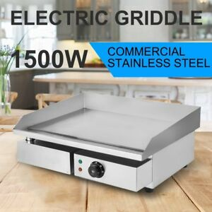 22 Electric Countertop Griddle Flat Top Commercial Restaurant Grill Bbq 1500w Hr