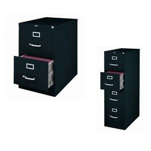 value Pack 2 Drawer File Cabinet And 4 Drawer File Cabinet In Black