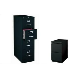 2 Piece Value Pack 4 Drawer And 2 Drawer Mobile File Cabinet In Black