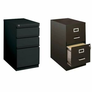 2 Piece Value Pack 3 Drawer And Mobile Filing Cabinet In Black