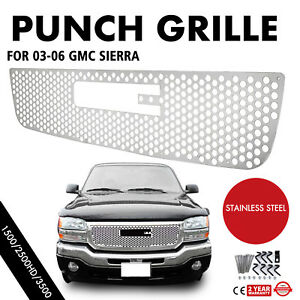 Grille For 2003 2006 Gmc Sierra 1500 2500hd 3500 Front Bolt Over Chrome Color