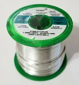 1lb Kester Solder Lead Free 062inch K100ld Eutectic Tin copper 24 9574 1400 New