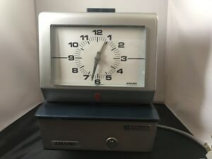 Amano 3600 Time Clock Retro Vintage Employee Time Clock Tested Works No Key