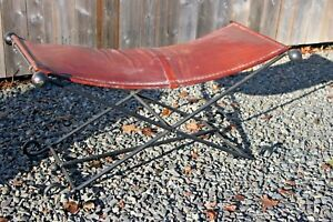 Vtg French Mid Century Modern Neoclassical Leather Iron Folding Bench Ottoman