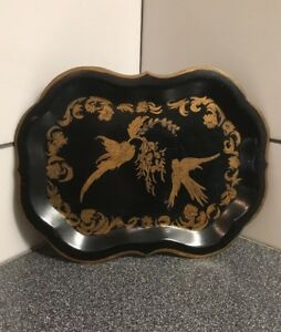 Antique Victorian Tin Tole Tray Toleware Gold Two Birds Chinoiserie 9 1 2 X7