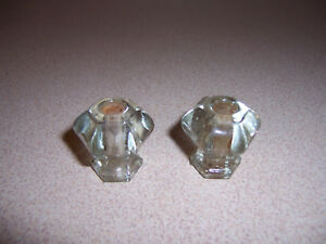 2 Antique Small 6 Sided Clear Glass Cabinet Knobs Drawer Pulls 1 3 8 Diameter