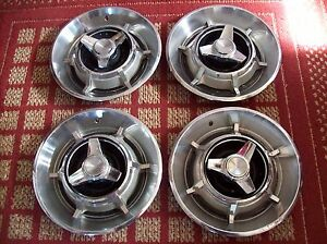1966 Dodge Charger Set Of Four 14 Oem Three bar Spinner Hubcaps