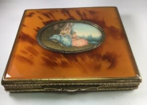 Antique Italian 800 Silver Faux Tortoise Shell Enamel Compact Hand Painted