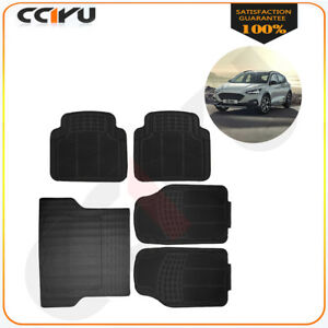 5pc Full Set Black Rubber Front Rear Heavy Duty Car Interior Trunk Floor Mats