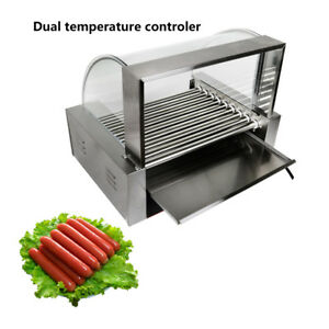 190 Commercial 24 Hot Dog Hotdog 9 Roller Grill Cooker Machine W Cover Xmas