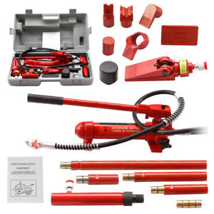 4 ton Porta Power Hydraulic Jack Auto Body Shop Frame Repair Kit Tool Heavy Set