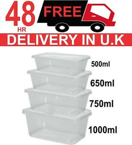 Food Containers Plastic Takeaway Microwave Freezer Safe Storage Boxes Lids Uk