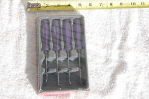 New Snap On Asa204bdp 4 Piece Mini Hard Handle Hook And Pick Set Purple New