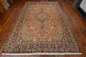 Vintage Persian Floral Geometric Design Rug 6 X10 Coral Blue All Wool Pile