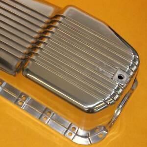Polished Aluminum Finned Oil Pan Sbc Chevy 80 To 85 Small Block Chevy 305 350