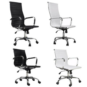 Modern Executive Leather Office Chair Swivel Adjustable Height Computer Desk