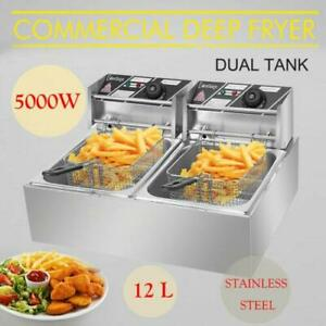 12l Dual Tank Electric Deep Fryer Commercial Restaurant Temperature Control 5kw