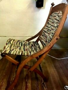Vintage Antique Wood Folding Chair Wooden Covered Wagon Tapestry Nailhead Detail