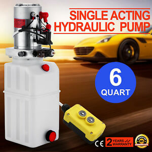 6 Quart Single Acting Hydraulic Pump Dump Trailer Lifting Power Unit Unloading