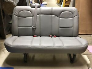 11 18 Chevy Express gmc Savana Van 2 3rd Row 3 Passenger Gray Leather Bench Seat