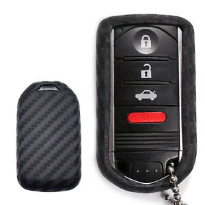 Carbon Fiber Soft Silicone Key Fob Cover For Acura Ilx Tl Rdx Zdx 3 4 Buttons