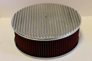 Finned 14 X 5 Round Polished Aluminum Red Washable Air Cleaner Chevy Sbc Bbc