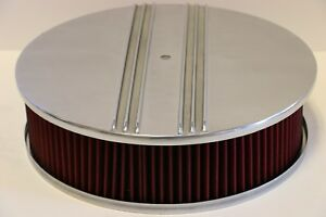 Half Finned 14 X 4 Round Polished Aluminum Red Washable Air Cleaner Sbc Bbc