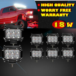 8x 4inch Pods Led Work Light Bar Driving Spot Boat For Ford Jeep Truck Snow Plow