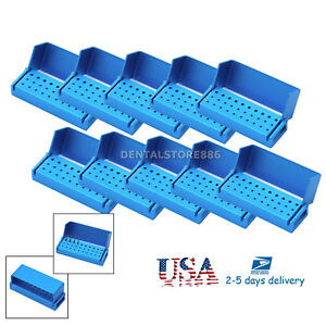10x Aluminium Dental Bur Burs Holder Block Disinfection Box Autoclave 30 Holes