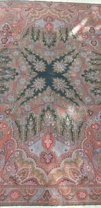 Antique Kashmir Paisley Shawl Coral Center 19thc French Textile Hand Woven