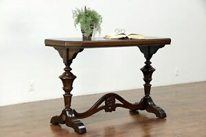 Renaissance Carved Antique Mahogany Hall Console Or Sofa Table 30080
