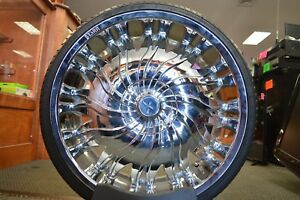 Starr 458 Magnum Chrome 22 x 8 5 Rims With New Tires 5x115 5x120 pick up Only