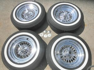 Appliance Wire Wheels 15 Inch 5x4 75 And Classic White Wall Tires 4