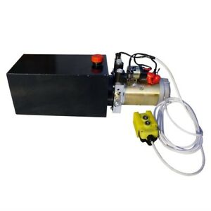 Dc12v 10 quart High Flow Power Up Grav Dn Hydraulic Pump Power Unit Dump Trailer