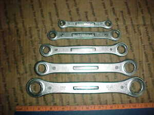 Vtg 60 s Set All 5 Craftsman Box End Ratcheting Wrenches 1 4 7 8 No Plastic