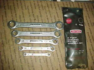 Vtg 60 s Complete Set 5 Craftsman Box End Ratcheting Wrenches 1 4 7 8 In Case