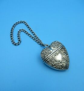 Antique Sterling Foster Bailey Repousse Chatalaine Hinged Puffy Hanging Heart