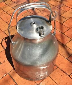 Vintage Stainless Steel De Laval Milking Bucket Can Pail 5 Gallons W lid