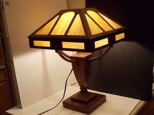 Rare Stickley Era Arts Crafts Table Lamp Mission Oak Craftsman Wood Slag Glass