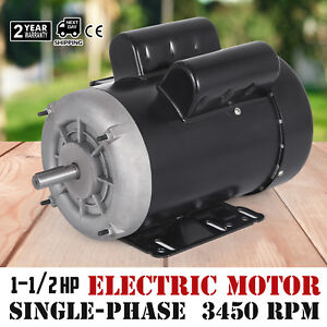 Electric Motor 1 1 2 Hp Single phase 3450rpm Tefc Continuous 60 Hz 56c Frame