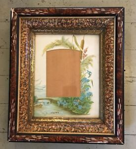 Antique Victorian Eastlake Aesthetic Incised Carved Deep Frame 8 X 10 Gold Gilt