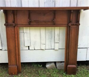 Antique Vintage Qtr Sawn Oak Fireplace Mantle Mantel 1890s 64 Wide X 51 High