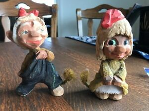 Vtg Henning Norway Hand Carved Wood Troll Couple W Rope Tails 1950s Engelsen