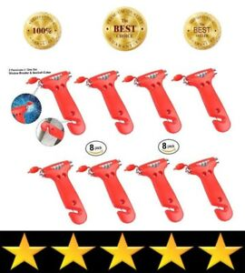 8 Pack New Rescue Escape Tools Seatbelt Cutter Window Glass Breaker Red Tool