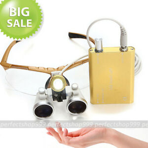 New Yellow Dentist Dental Surgical Loupes 3 5x 320mm Led Head Light Lamp