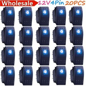 20x Waterproof Marine Boat Car Rocker Switch 12v Spst On off 4pin 4p Blue Led Ss